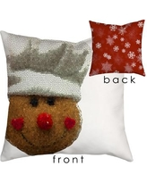 "SafiyaJamila Holiday Treasures Gingerbread Man Throw Pillow GingerMan_ Size: 18"" H x 18"" W"