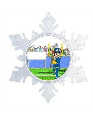 The Holiday Aisle Personalized Friendly Folks Cartoon Snowflake Marching Band Trombone Christmas Holiday Shaped Ornament W001880343