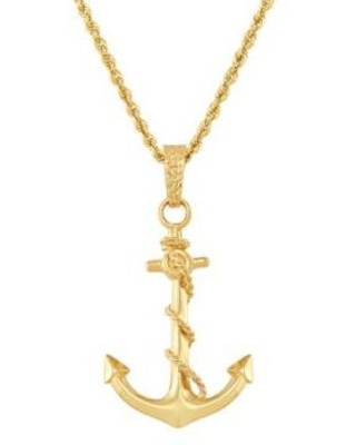 Belk & Co. Yellow Gold Anchor Pendant Necklace in 10K Yellow Gold