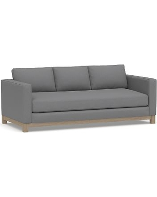 """Jake Upholstered Sofa 85"""" with Wood Legs, Polyester Wrapped Cushions, Textured Twill Light Gray"""