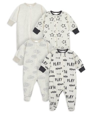 Onesies Brand Baby Boy or Girl Gender Neutral Pajamas Sleep 'N Play Sleepers, 4-Pack