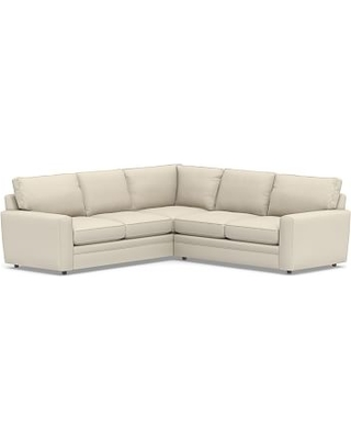 Pearce Square Arm Upholstered 2-Piece L-Shaped Sectional, Down Blend Wrapped Cushions, Performance Brushed Basketweave Ivory