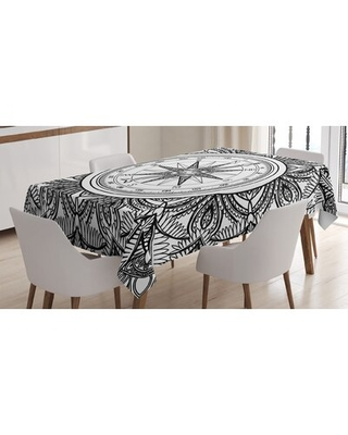 Ambesonne Nautical Tablecloth, Wind Rose Surrounded By Ornate Floral Arrangement Pattern Destination Graphic, Rectangular Table Cover For Dining Room
