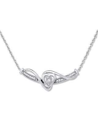 Jared The Galleria Of Jewelry Heart Necklace 1/10 ct tw Diamonds Sterling Silver