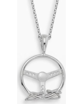 """""""Insignia Collection NASCAR Jimmie Johnson Sterling Silver Steering Wheel Pendant, Women's, Size: 18"""", Grey"""""""