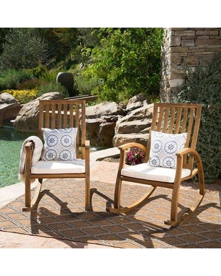 Bungalow Rose Morais Outdoor Rocking Chair With Cushions Bgrs8182 Color Natural