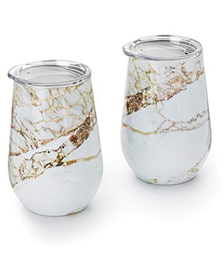 Outset Marble Wine Tumbler with Lid, 12 oz, White, Copper, Set of 2