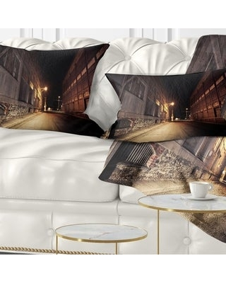 Designart 'Old Road and Buildings' Landscape Printed Throw Pillow (Rectangle - 12 in. x 20 in. - Medium)