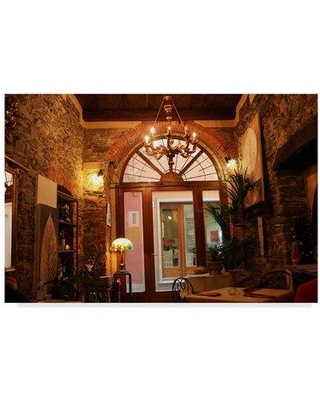 """Fleur De Lis Living 'Cafe in Lake Orta' Photographic Print on Wrapped Canvas FLDV1658 Size: 22"""" H x 32"""" W x 2"""" D"""