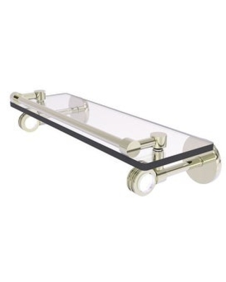Allied Brass Clearview Collection Gallery Rail Glass Shelf with Dotted Accents (Polished Nickel - 16 Inch)