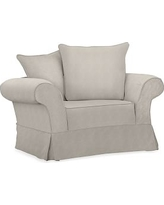 Charleston Slipcovered Chair-and-a-Half, Polyester Wrapped Cushions, Performance Slub Cotton Silver Taupe