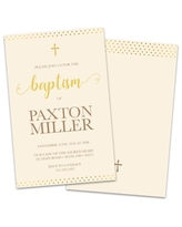 Personalized Gold Dots Baptism Invitation