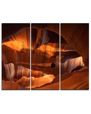 """Design Art Red Limestone Caves - 3 Piece Graphic Art on Wrapped Canvas Set, Canvas & Fabric in Brown/Yellow, Size Medium 25""""-32""""   Wayfair"""