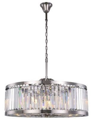 Dorinda 10 - Light Shaded Drum Chandelier Everly Quinn Finish: Polished Nickel, Crystal Color: Clear