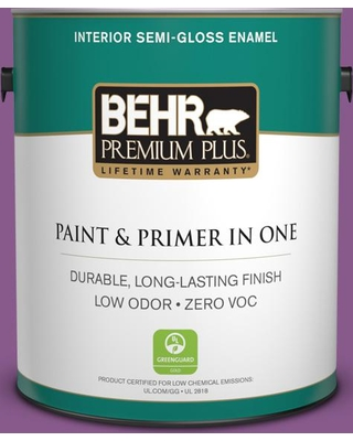 BEHR Premium Plus 1 gal. #670B-7 Candy Violet Semi-Gloss Enamel Low Odor Interior Paint and Primer in One