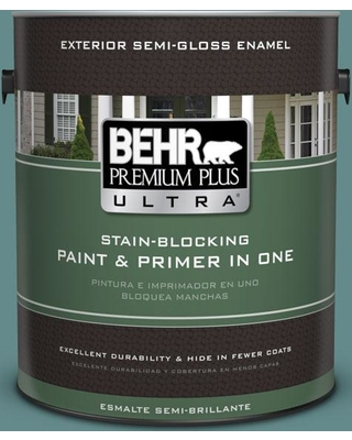 BEHR ULTRA 1 gal. #S440-5 Tasmanian Sea Semi-Gloss Enamel Exterior Paint and Primer in One