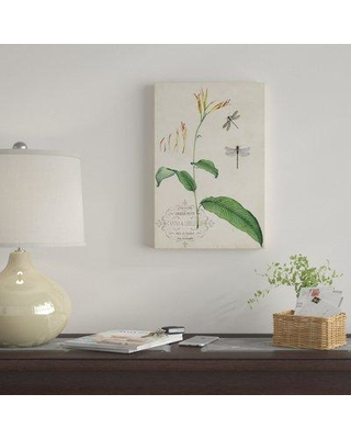 """East Urban Home 'Canna & Dragonflies I' Graphic Art Print on Canvas EBHS9329 Size: 12"""" H x 8"""" W x 0.75"""" D"""
