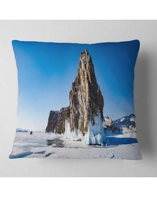 Spectacular Sales For Designart Winter Lake Baikal Panorama Seashore Throw Pillow Square 16 In X 16 In Small