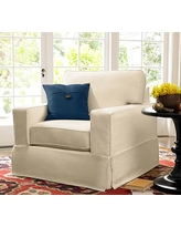 """PB Comfort Square Arm Slipcovered Grand Armchair 42.5"""", Box Edge Polyester Wrapped Cushions, Denim Warm White"""