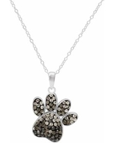 """Hue Sterling Silver Crystal Dog Paw Print Pendant Necklace, Women's, Size: 18"""", Black"""