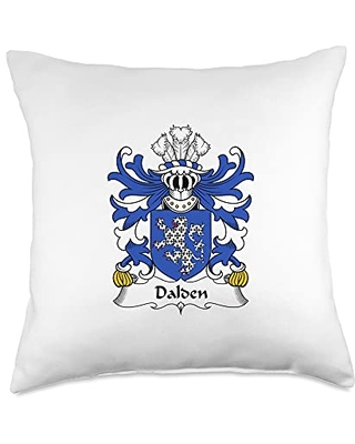 Family Crest and Coat of Arms clothes and gifts Dalden Coat of Arms - Family Crest Throw Pillow, 18x18, Multicolor