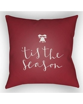 """The Holiday Aisle Tis the Season Indoor/Outdoor Throw Pillow HLDY1187 Size: 18"""" H x 18"""" W x 4"""" D, Color: White / Red"""