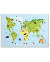 The Kids Room by Stupell World Map Cartoon And Colorful Wall Plaque Art, 10 x 0.5 x 15