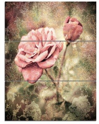 Deals For Design Art Vintage Pink Roses W Water Drops 3 Piece Graphic Art On Wrapped Canvas Set Canvas Fabric In Brown Pink Size Medium 25 32 Wayfair