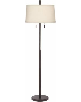 Possini Euro Design Nayla Bronze Double Pull Chain Floor Lamp Off White Shade From Lamps Plus Real Simple