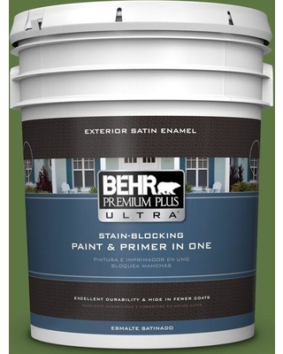 BEHR Premium Plus Ultra 5 gal. #420D-7 Dill Pickle Satin Enamel Exterior Paint and Primer in One