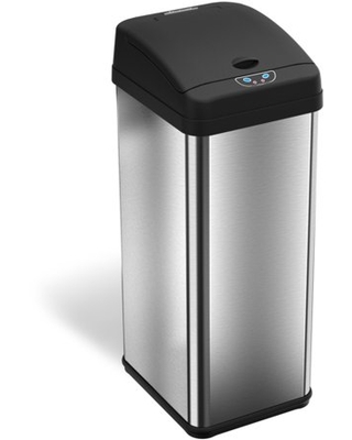 iTouchless Square Automatic Sensor 13-Gallon Trash Can, Stainless Steel