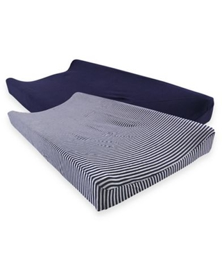 Touched by Nature® Striped Organic Cotton Changing Pad Covers in Navy/Grey (Set of 2)