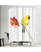 East Urban Home Suren Nersisyan Goldfinch and Red Flower I Shower Curtain ERNI0628