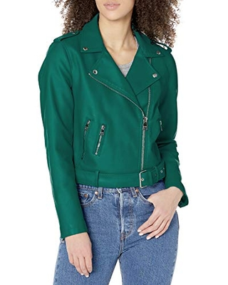 Levi's Women's Faux Leather Belted Motorcycle Jacket (Standard and Plus Sizes),Green,2X