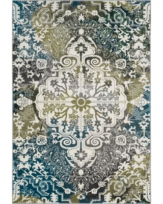 Safavieh Watercolor Ivory/Peacock Blue 4 ft. x 6 ft. Area Rug