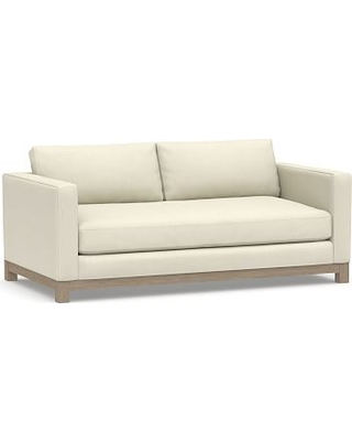 """Jake Upholstered Loveseat 70"""" with Wood Legs, Polyester Wrapped Cushions, Premium Performance Basketweave Ivory"""
