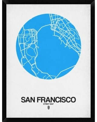 """'San Francisco Street Map' Framed Graphic Art Print on Canvas in Blue Naxart Size: 42"""" H x 32"""" W x 1.5"""" D"""