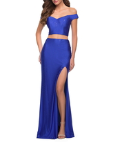 La Femme Sequin Satin Off the Shoulder Two-Piece Gown, Size 8 in Royal Blue at Nordstrom