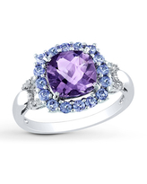 Jared The Galleria Of Jewelry Amethyst/Tanzanite Ring 1/20 ct tw Diamonds Sterling Silver
