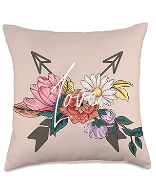 BeDitty Floral Love Arrow Throw Pillow, 18x18, Multicolor