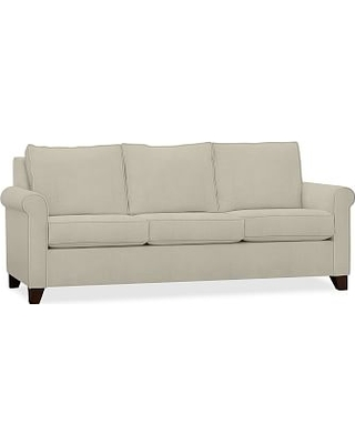 Cameron Roll Arm Upholstered Queen Sleeper Sofa with Memory Foam Mattress, Polyester Wrapped Cushions, Premium Performance Basketweave Oatmeal