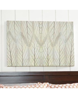 """Wrought Studio 'Leaf Design Cream' Painting Print on Wrapped Canvas W000413521 Size: 24"""" H x 48"""" W x 2"""" D"""