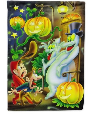 Scary Ghosts and Halloween Trick or Treaters Flag Canvas House Size