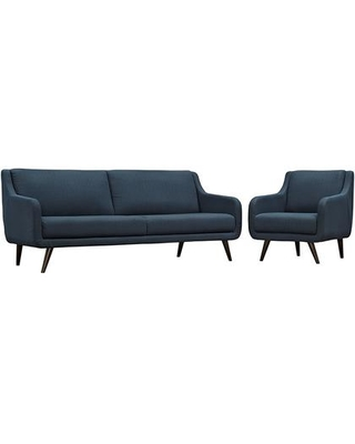 Verve Collection EEI-2447-AZU-SET 2 PC Sofa and Armchair Set with Dense Foam Padding Removable Cushions Espresso Rubberwood Legs and Polyester