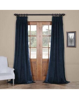 Exclusive Fabrics Signature Pinch-pleated Blackout Solid Velvet Curtain Panel (25 x 120 - Midnight Blue)