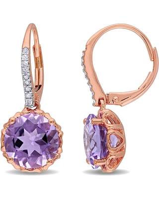 Miadora 10k Rose Gold Amethyst and 1/10ct TDW Diamond Earrings - Purple