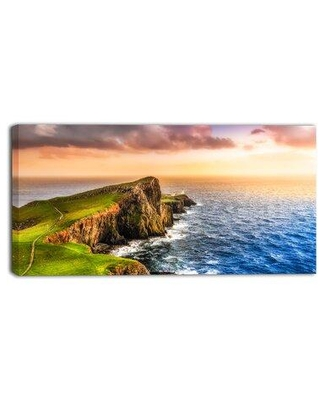 """Design Art Ocean Cost at Sunset Photographic Print on Wrapped Canvas, Canvas & Fabric in Brown/Blue/Green, Size 12"""" H x 20"""" W 