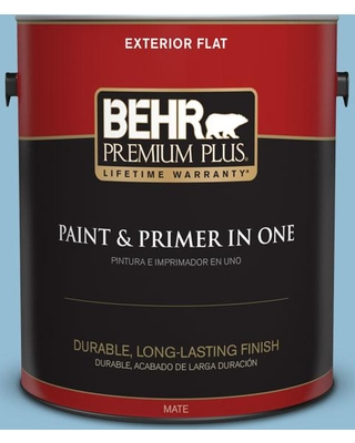 BEHR Premium Plus 1 gal. #M500-3 Blue Chalk color Flat Exterior Paint and Primer in One