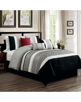 Ullrich Embroidery 7-PC King Comforter Set - Elight Home 21307K