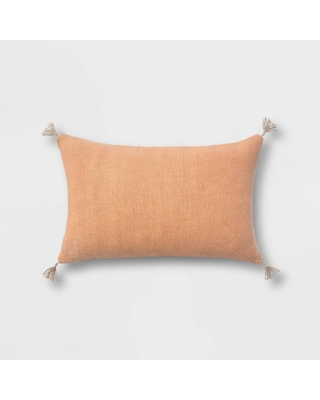 Washed Linen Lumbar Throw Pillow with Tassels Clay - Threshold
